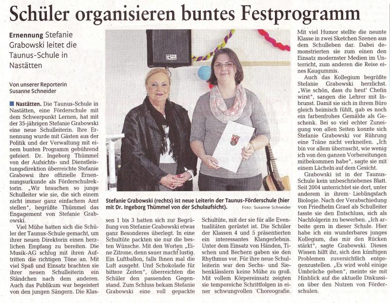 Artikel Ernennung Rhein-Zeitung